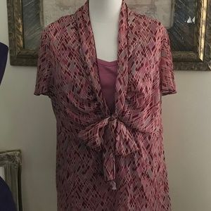 2pc Bow Front Blouse With Under Tank
